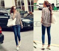 New fashion Women Wild Leopard print chiffon blouse Long-sleeved t shirt women Top M/l/XL loose plus size V neck blouse 2011
