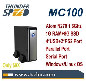 Cheap Mini Computer MC100 Intel Atom N270 Single Core 1.6Ghz Processor 1GB RAM 8GB SSD Win XPE /Linux OS