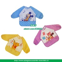 Free shipping Hot Selling Baby Waterproof Feeding Bibs Apron art Smock bear mickey pattern Bib Vesture 27pcs/lot opp bag packing