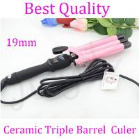 19mm Ceramic Triple Barrel Waver with EU, AU, US, UK Convertor, digital hair curler