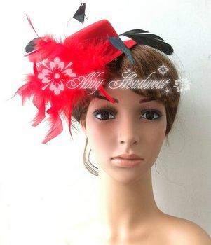 5'' Women Feather Head Hair Clip Mini Top Hat Fascinator Cocktail Wedding cap 50pcs/lot