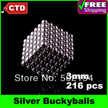 Funny Silver Buckyballs Magnetic Balls Beads Sphere Cube Puzzle Neocube Intelligence Toy - 3mm Diameter 216 Pieces
