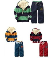 Free shipping, Baby clothing sets sports winter clothing kids coat with hat  fur+pant, hoodies suit,Children thick warm HOT SALE