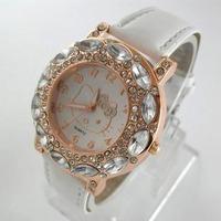 Hello kitty Wholesale Girl women wristwatches ladies fashion leather strap quartz watch rhinestone Women dress watches K31B