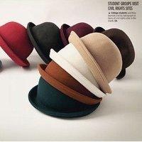 High Quality derby hat cap Wholesale Ladies 100% Wool Fedora Hat / Solid Color Round Top Jazz Cap woolelegant   felt hat