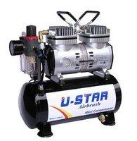 U-STAR Mini Air Compressor U-602G, Twin-Cylinder Piston, With Tank, High-Performance, Oil-less & Quiet