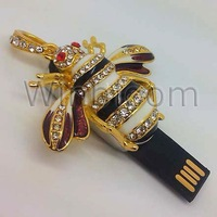 Bee USB Flash Drive 2GB 4GB 8GB 16GB 32GB Real Capacity Jewelry Pendant Pen Drive HKPAM DHL Shipping Solution For Mix Order