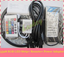 RGB 3528 SMD LED Strip Light + Remote Control 24key + Adapter 12V 3A Free by China Post(China (Mainland))