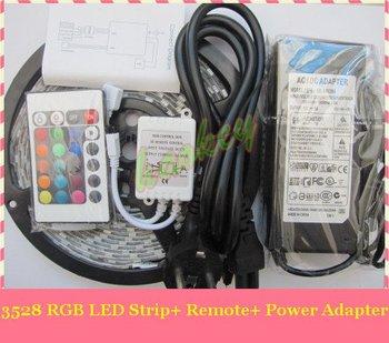 RGB LED Strip 3528 SMD led strip Light + Remote Control 24key + Adapter 12V 3A Free by China Post