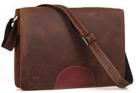 Free shipping SATCHEL Men's Genuine Bull Leather Messenger Shoulder School Bag Bookbags Brown 8005-4