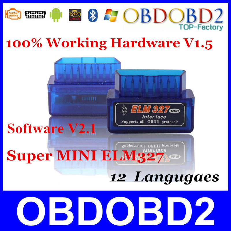 Super MINI ELM327 Latest V2.1 Bluetooth Blue/White Color 12Kinds Multi-Langugae OBDII CAN-BUS Works ON Android Torque/PC ELM 327(China (Mainland))