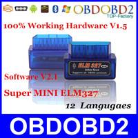 Super MINI ELM327 Latest V2.1 Bluetooth Blue/White Color 12Kinds Multi-Langugae OBDII CAN-BUS Works ON Android Torque/PC ELM 327