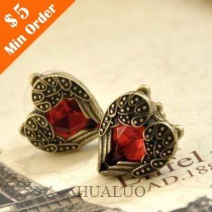 New Arrival Fashion Red Peach Heart Gem Angel Wings Earrings(Red) E122