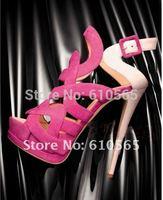 Sexy 15cm High Heels Genuine Leather Women Sandals Peep Toe Sheepskin & Suede Pumps,3.5cm Waterproof 3colors