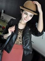 New 2014 leather jacket women's short design motorcycle jacket fashion casual coat black color J855