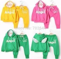 Hot sell!New style girl's/boy sports clothing set,baby Angel wings hoodies jacket +pants set   ,(5set/lot)