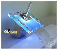 Free Shipping Kitchen Sink Bathroom Basin Glass Temperature Sensitive LED tap Waterfall Faucet tub Modern Fashion Sanitary Ware