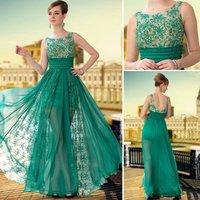 Free Shipping hot sale DORISQUEEN beaded 30650 floor length long Green Color Fashion See Through  Silk Chiffon Prom dress 2015