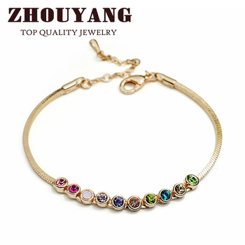 ZYH013 Multicolour  Exquisite ball 18K Gold Plated Bracelet  Jewelry Made with Genuine  Elements Austrian Crystals Wholesale