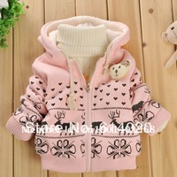 2014 Children's cartoon fawn cashmere winter coat sleeve girl's jacket