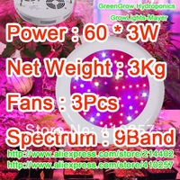 Free shipping 180W UFO Led grow light  60 pcs 3W leds for hydroponics lighting dropshipping