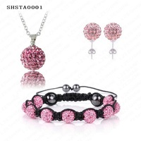 Big Sale Shamballa Set AB Clay Disco Ball shamballa Bracelet/Earring/Necklace Pendant Set SHSTA2