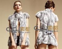 2014 Natural Rabbit Fur Vest with Mandarin Collar Winter Women Fur Waistcoat Outerwear Coats QD6342