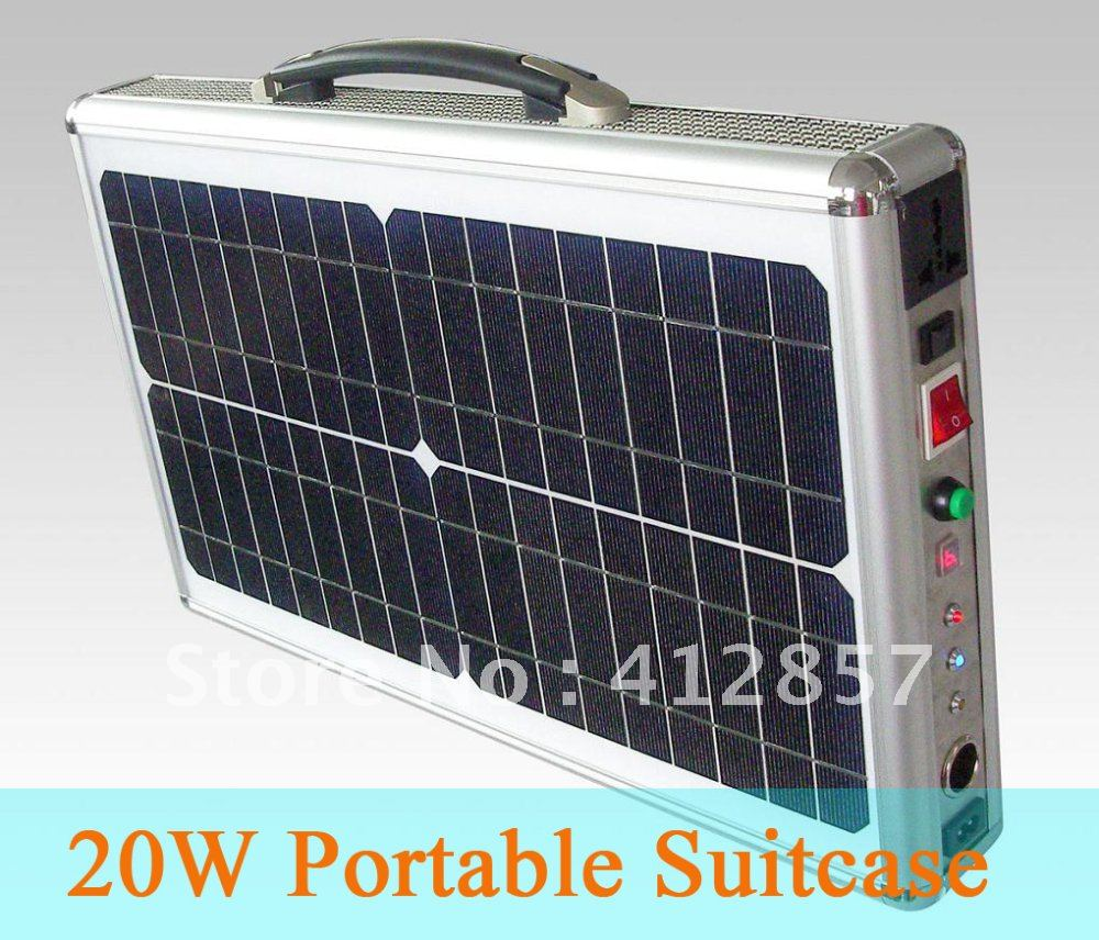 20w ultra thin portable solar panel suitcase pv power system with LED lamp(China (Mainland))