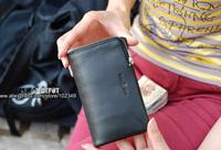Men's leather purse,long  fashion designer wallet,three fold/Ykk zipper/Black/trifold [Fashion Depot]