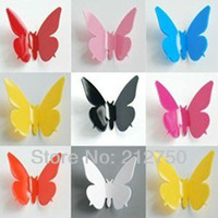 Hotsale Fashion 3D stereo 10 colors size 5.8cm wall stickers living room decal wall stickers art butterfly wall stickers