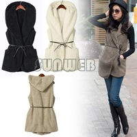 Fashion Womens Ladies Hoodie Faux Lamb Fur Long Vest Jacket Coat With Hat 5colors free shipping 7669