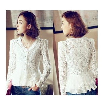 Free Shipping  Fall 2013 White Laced  blouses shirts For Women Cardigan Skinny Shoulder Ladies blouse  Autumn
