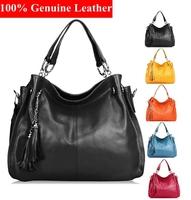 2015 New Women genuine Leather handbag Portable Female Shoulder bags Tassel Satchel Casual Tote Purses Bags BH217 Free Shipping