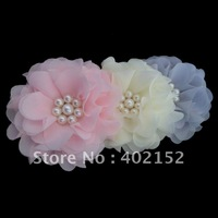 up down 30%(60pcs/lot)3inch fashion chiffon hair flower with pearl hair accessories garment accessories Baby girl wedding flower