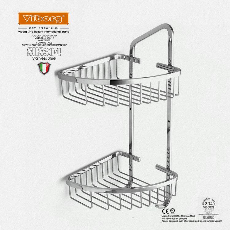 Organizador De Baño Acero Inoxidable:Steel Wall Mounted Shower Corner Shelf