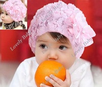 Lovely Children's Bowknot Cap, lace baby hat, princess Baby Cap Free shipping 7834
