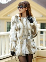 women's winter clothing Natural Real Fur coat 2014 medium long rabbit fur outerwear coats design female overcoat clothes