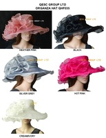 Fashion crystal Organza Hat Church Hat for kentucky derby,wedding,party,5 colours,10pcs/lot,ivory,heather pink and fuchsia color
