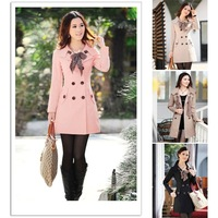 2012 Hot Womens Lady Double Breasted Long  Jacket Scarf Coat Outwear XXO