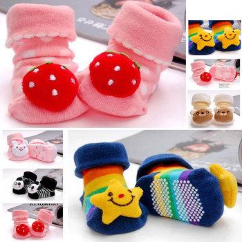 Newborn 2013  Cute Doll Soild Baby Girl Boy 3D SOCKS Boots Baby Cartoon Slippers Anti-slip Sock 6-12 M,5 pairs/Lot,Baby Gift