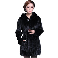 2014 new fashion Long Black Sheared 100% real Mink Fur Garment  women's genuine mink fur coat Hooded for winter  puls size 5XL