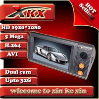 Hot Selling Original Negative Dual lens Camera With GPS Car Dvr Camera Black Box Registrator Recorder freeshipping p7