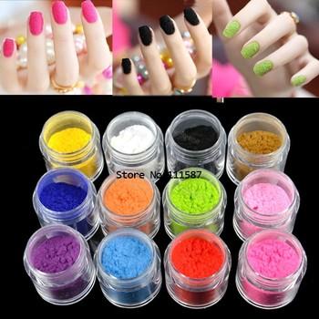 New 12 Colors Fashion Tips Fuzzy Flocking Velvet Nail Powder Nail Art Tools Wholesale 8253