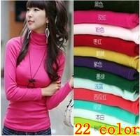 Free shipping women winter long-sleeved turtleneck sweater Warm heap turtleneck tops womens shirt blusas 18 COLOR