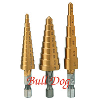Free shipping 3pcs SAE 28 Size Titanium Coated Step Drill Bit Smoother Drill Bit Set with PVC Storage Bag