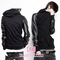 Spring and autumn hoodies sweatshirts for men fashion black leather patchwork with a hood pullover wholesale(S/M/L/XL/XXL/XXXL)