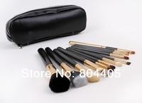 free shipping!! professional 12pcs golden cosmetic brush set, 12pcs makeup brush set with PU case