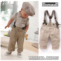 2013 newest free shipping 5 sets/lot baby boy retro handsome summer clothing sets (short sleeve+suspender trousers) kids garment