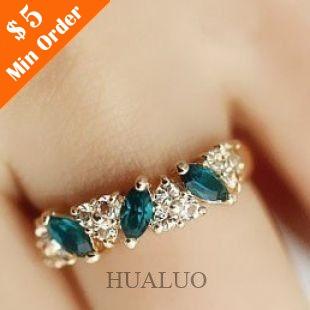 Retro Feel Emerald Ring Sweet Flash Rhinestone Ring Jewelry Wholesale And Retail R598