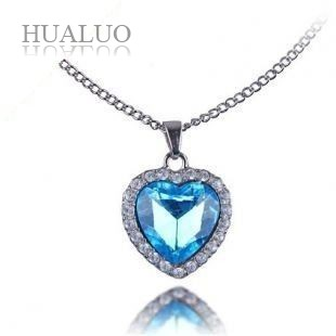 Ocean Heart Titanic Necklace Pendant for Women,Charms Blue Heart Sweater Chain#N460